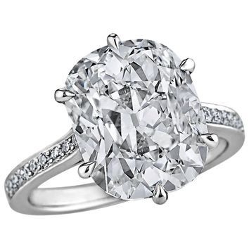 Art Deco 6.12 Carat GIA Cert Cushion Cut Diamond Platinum Engagement Ring