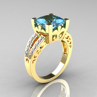 French Vintage 14K Yellow Gold 3.8 Carat Princess Blue Topaz Diamond Solitaire Ring R222-YGDBT