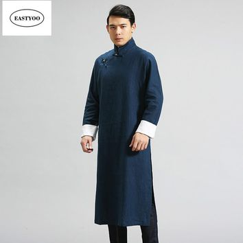 Chinese Traditional Dress Men Mandarin Collar Long Robes Plus Size Chinese Traditional Clothing Linen Trench Coats Long Man Robe
