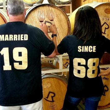 MARRIED SINCE  50th ANNIVERSARY 1968 Couples T-Shirts, set of 2 Matching Tees