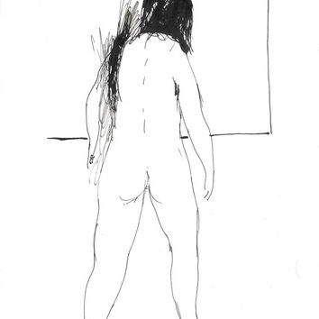 STANDING FEMALE NUDE sketch study minimalist ink drawing beautiful woman girl posing portrait original art unique gift wife husband friend