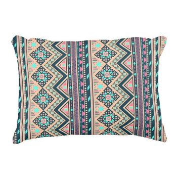 Colorful Abstract Aztec Tribal Pattern Geometric Accent Pillow