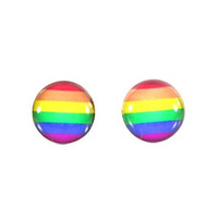 Rainbow Pride Flag Stud Earrings Silver Tone LGBT Gay Lesbian Trans Posts EF11 Fashion Jewelry