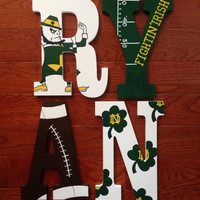 Hand-Painted Personalized Wood Letters to match Notre Dame Fighting Irish College Football Team Indiana