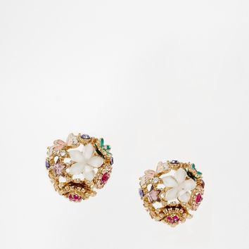 ASOS Floral Butterfly Stud Earrings