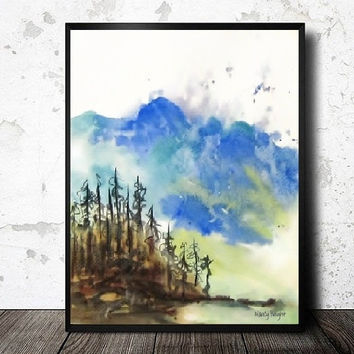 Landscape Painting Art Print, Watercolor Painting Mountain Print, Tree,Smoky Reproduction Abstract, Blue Brown Green Wall Decor,Giclee Print