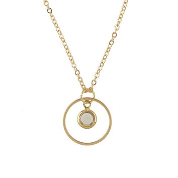 Gold Chain With Beads Circle Pendant Necklace Collier Femme
