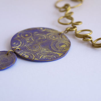 Golden wire necklace, Double purple medal with yellow patina, OOAK
