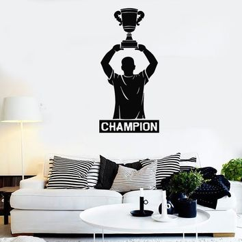 Wall Stickers Vinyl Decal Soccer Player Sport Athlete Champion Cup Unique Gift (ig226)