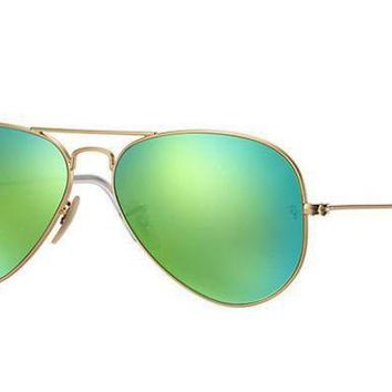 MDIGNW6 Ray Ban Aviator Sunglass Gold Green Mirrored RB 3025 1129