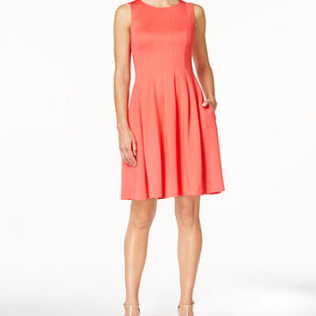 Calvin Klein Pleated Scuba Fit & Flare Dress | macys.com