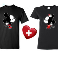 Couple Kissing  Couple T-shirt matching shirt Gift for Mr. Mrs.Right