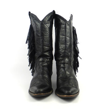 Black Cowboy Boots Vintage 1980s Leather Fringe Women's size 8