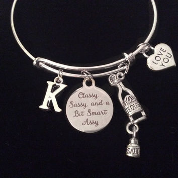 Tequila Classy, Sassy, and a Bit Smart Assy Expandable Charm Bracelet Initial Adjustable Bangle Gift