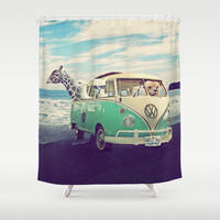 FUNNY LAMA *** NEVER STOP EXPLORING THE BEACH  *** Shower Curtain by Monika Strigel