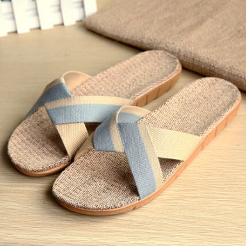 Mens Beach Shoes Comfortable Linen Slipper Sandals