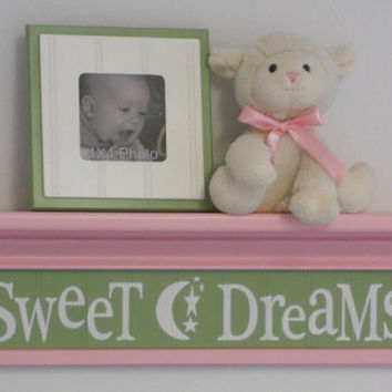 Pink Green Wall Shelf - Baby Girl Nursery Art  - Sweet Dreams - Moon and Stars - Sign Shelves Pastel Pink