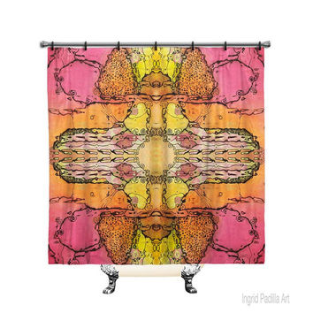 Batik in Pink, Printed Fabric, Shower Curtain, Bath Decor, Home Decor, Funky, Art, by Ingrid Padilla