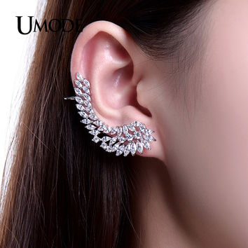 UMODE Charm Women's Stud Earrings Jewelry Trendy Angel Wings Feather Earrings With CZ Stone Ear Cuff Jewelry Brincos Aros UE0214