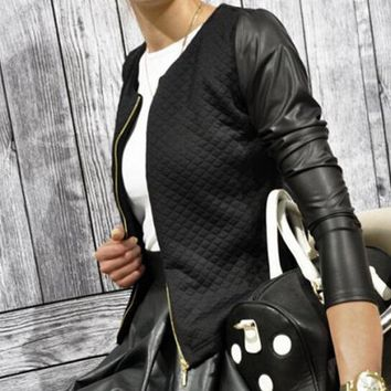 Women's Casual Zip Leather Long Sleeve Jacket