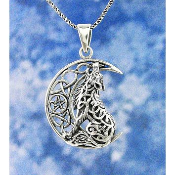 Celtic Wolf Howling at the Crescent Moon Necklace