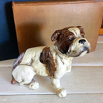 Japan Bulldog, UCTCI Japan, Bulldog Figurine, Bulldog Décor, Bulldog Desk Accent, Vintage Bulldog, Porcelain Bulldog, Christmas Gift