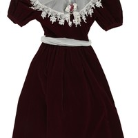 Burgundy Velvet Party Dress  | Dresses | Rokit Vintage Clothing