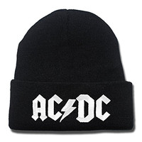 JRICK AC DC AC/DC ACDC Rock Band Logo Beanie Fashion Unisex Embroidery Beanies Skullies Knitted Hats Skull Caps - Black/White