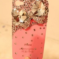 New Chic Glam Elegant Bling Sparky Big Bow Rhinestone Pink Mobile Cell Phone Case Cover For iPhone 4s 5s 5c 6 6 Plus Samsung - Casemoda | Pinkoi