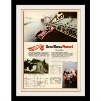 "1970 Hot Wheels Toy Car Ad ""Amon: Ferrari"" Vintage Advertisement Print"