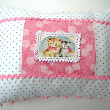 Kitten Pillow - Chenille Pillow - Cat Pillow - Kitty Pillow - Cottage Chic Decor - Pom Pom Pillow - Nursery Decor