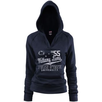 Penn State Nittany Lions Ladies Navy Blue Rugby Distressed Deep V-neck Hoodie Sweatshirt