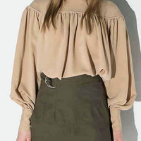 Light Khaki Keyhole Back Pleat Detail High Neck Blouse
