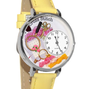 Whimsical Watches Designed Painted Cross Stitch Yellow Leather And Silvertone Watch