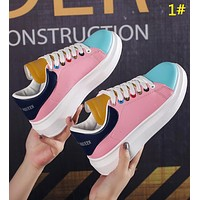 Alexander McQueen New fashion leather tail couple contrast color shoes 1#