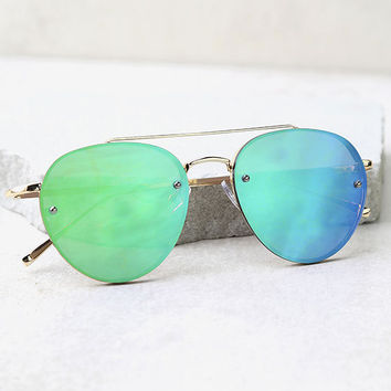 Bright or Flight Gold and Green Mirrored Aviator Sunglasses