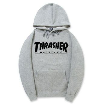 DCCKUNT Trendy THRASHER Printed Unisex Round Neck Sweaters Hoodies