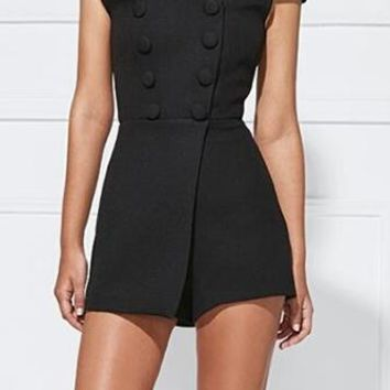 Team Player Short Sleeve Off The Shoulder Double Breasted Button Cross Wrap Playsuit Romper - 2 Colors Available