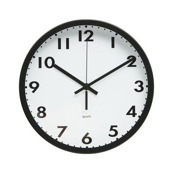 """Minimalist Style Bold Design 10"""" Non-Ticking Silent Wall Clock with Matte Black Finished Frame (Bold Numbers and Dots)"""