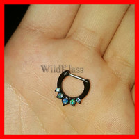 Opal Black Septum Clicker Ring Aurora Borealis Opal Precia Ring Cartilage Earrings Nipple Ring Circular Barbell Tragus Jewelry Helix Conch