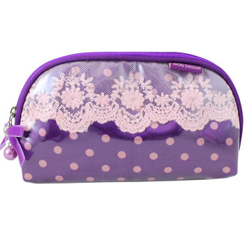 "Polka Dot Romance Flat Cosmetic Bag 8""""X5""""X0.5"""" Purple: Purple"