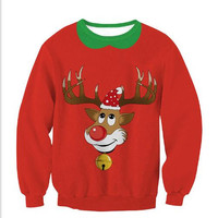 Loose Large Size Christmas Print Sweater B0014178