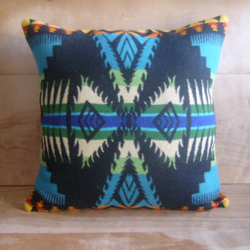 Pendleton Wool Pillow 16x16 (Turquoise) by RobinCottage on Etsy