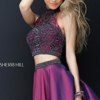 Short Two-Piece Beaded Sherri Hill Homecoming Dress