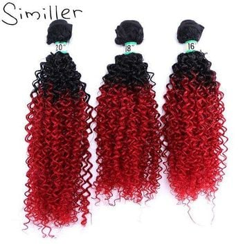 ESB1ON Similler 210g Women Curly Synthetic Hair Weaving Bundles Hairpiece Weft For Halloween Black T Red Ombre Color