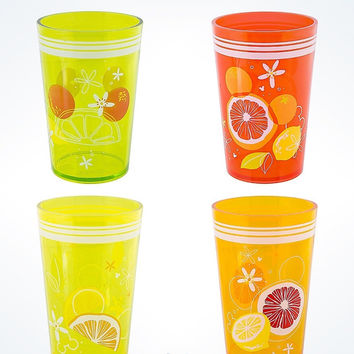Disney Parks Mickey Icon Citrus Tumblers Set of 4 New with Box