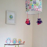 Owl children lampshade - Purple and pink nursery theme - Perfect accessory for  a woodland nursery