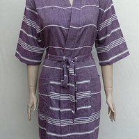 Women's grape burgundy colour soft cotton light weight kimono robe with pockets,  dressing gown, bridesmaid robe with pocket, spa robe.