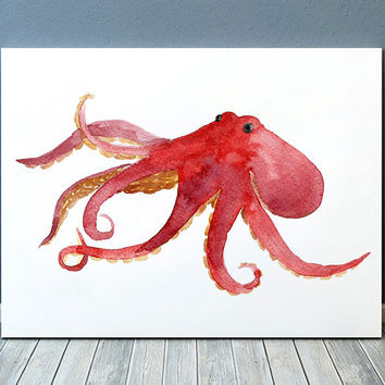Octopus poster Nursery print Watercolor print Nautical decor ACW522