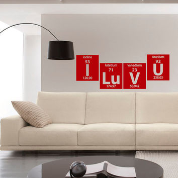 Periodic Table Wall Decals I Luv U Elements Lettering Gift Home Decor for Living Room, Decals for Bedroom M014